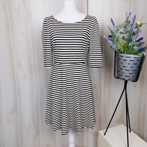 Pixley Black and White Striped Fit & Flare Dress